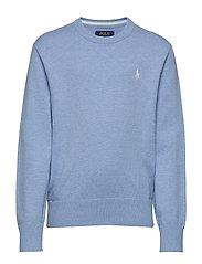 Cotton Crewneck Sweater - MEDIUM BLUE HEATH