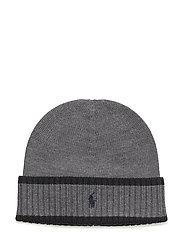 Striped Merino Wool Hat - MEDIUM GREY HEATH