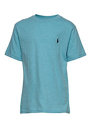 Cotton Jersey Crewneck Tee - BEACH AQUA HEATHE