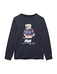Hockey Bear Cotton T-Shirt - RL NAVY