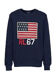 Flag Cotton Terry Sweatshirt - NEWPORT NAVY