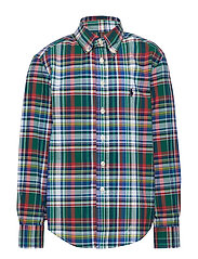 Plaid Cotton Poplin Shirt - GREEN/RED MULTI
