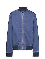 Stretch Cotton Baseball Jacket - FEDERAL BLUE