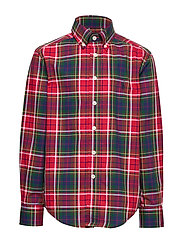 Plaid Cotton Poplin Shirt - RED/GREEN MULTI