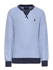 Textured Cotton Sweater - CHAMBRAY HEATHER