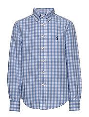 Gingham Cotton-Blend Shirt - BLUE LAGOON MULTI