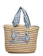 GINGHAM FABRIC/STRW-STRAW TOTE-TTE- - NATURAL
