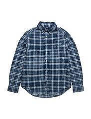 Indigo Cotton Madras Shirt - INDIGO/WHITE