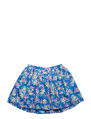 Floral Twill Pull-On Skirt - BLUE MULTI
