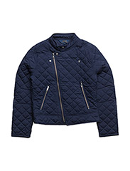 Quilted Moto Jacket - NEWPORT NAVY