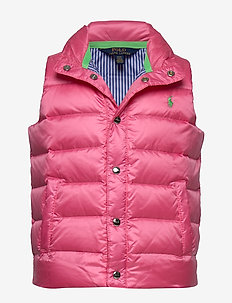 Packable Quilted Down Vest - vests - baja pink
