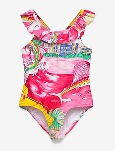 Gingham One-Piece Swimsuit - LOBSTER PRINT
