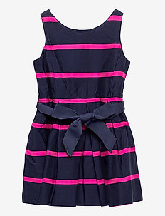 Striped Cotton Sateen Dress - robes - french navy multi
