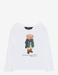 Scarf Bear Long-Sleeve Cotton Tee - manches longues - white