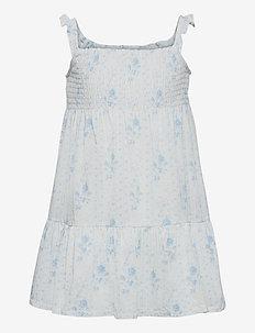 Floral Tiered Cotton Jersey Dress - kleider - blue-white