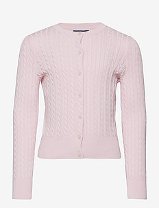 Mini-Cable Cotton Cardigan - cardigans - hint of pink