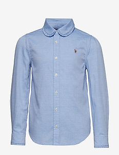 Scalloped Cotton Oxford Shirt - BLUE HYACINTH