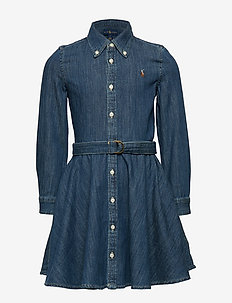 Belted Cotton Denim Shirtdress - mekot - indigo