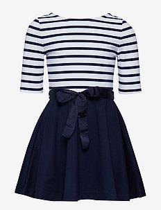 Two-Tone Ponte Dress - FRENCH NAVY/WHITE