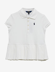 Pleated-Hem Stretch Mesh Polo - WHITE