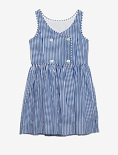 Bengal-Stripe Cotton Dress - ROYAL/WHITE