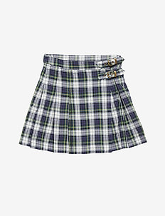 PLAID KILT-BOTTOMS-SKIRT - NAVY GREEN MULTI