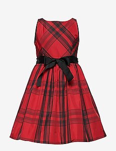 PLAID TAFFET-DRESSES-WOVEN - RED AND BLACK