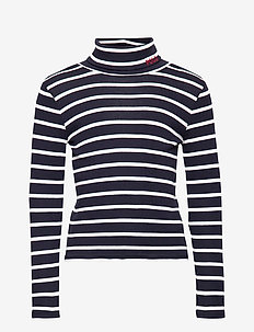 COTTON MODAL 1X1 RI-LS STRP TURT-TP - HUNTER NAVY/CLUBH