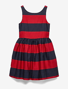 YD COTTON SATEEN-STRP FIT N FLARE-D - RED/NAVY