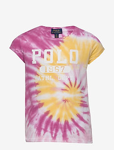 Tie-Dye Cotton Graphic Tee - short-sleeved - pink multi