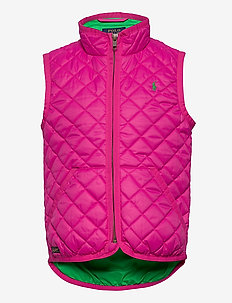 Quilted Water-Resistant Vest - vests - accent pink