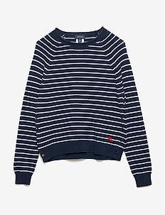 Striped Eyelet Cotton Sweater - SUMMER NAVY/WHITE