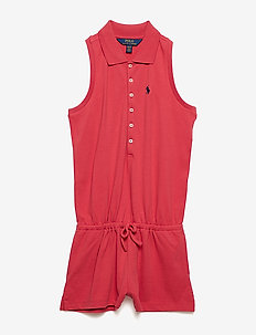 Stretch Cotton Mesh Romper - NANTUCKET RED
