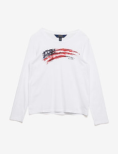 COTTON JERSEY-LS FLAG CN-TP-KNT - WHITE/RED