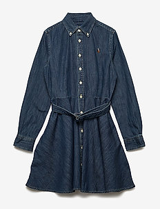Belted Cotton Denim Shirtdress - INDIGO