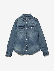 Cotton Denim Western Shirt - BLUE