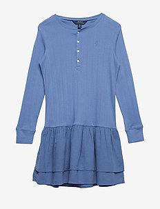 COTTON RIB-KNIT TO WVEN-DR-KNT - CARSON BLUE