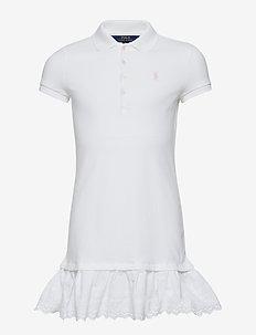STRETCH MESH-EYELET DRESS-DR-KNT - WHITE