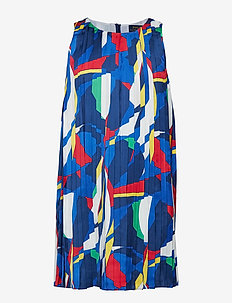 Sailboat Pleated Satin Dress - MULTI