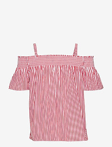Cotton Off-the-Shoulder Top - EVENING POST RED/