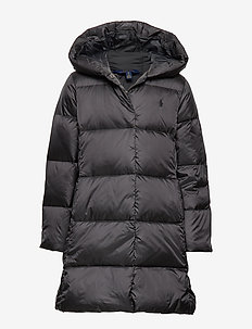 Quilted Down Long Coat - POLO BLACK
