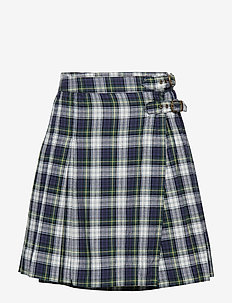 Plaid Cotton Madras Skirt - NAVY GREEN MULTI
