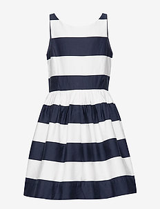 Striped Cotton Sateen Dress - sukienki - hunter navy/nevis