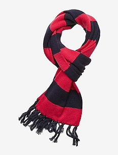 Striped Wool-Blend Scarf - RL NAVY/SPORT PIN