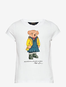 Raincoat Bear Cotton Tee - WHITE