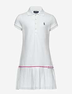 Pleated Mesh Polo Dress - WHITE