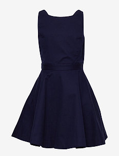 Crossback Stretch Cotton Dress - FRENCH NAVY
