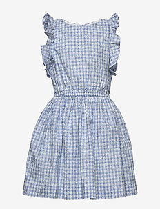Gingham Cotton Poplin Dress - BLUE MULTI
