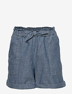 Cotton Chambray Camp Short - shorts - indigo
