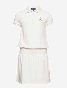 STRETCH MESH-SS SMOCK POLO-DR-KNT - robes - deckwash white